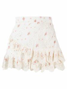 LoveShackFancy Emma floral print skirt - White