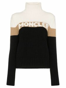 Moncler turtleneck logo intarsia sweater - Black