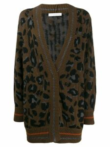 Fabiana Filippi oversized leopard cardigan - Brown