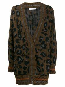 Fabiana Filippi oversized leopard cardigan - Brown