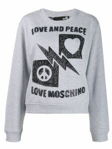 Love Moschino sequinned crewneck sweatshirt - Grey