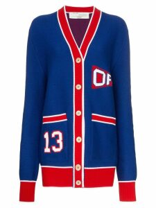 Off-White college style oversized cardigan - Blue