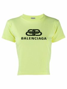 Balenciaga cropped logo T-shirt - Green