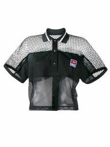 Diesel boxy mesh insert polo shirt - Black