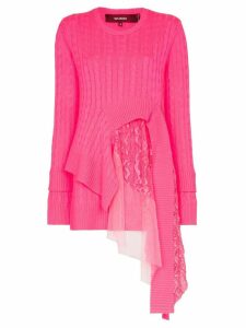 Sies Marjan Trine lace-insert asymmetric sweater - Pink