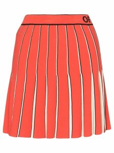 Off-White logo-printed pleated skirt - Red