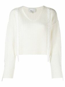 3.1 Phillip Lim Ribbon Weave Cropped Sweater - NEUTRALS