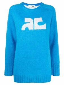 Courrèges contrast logo jumper - Blue