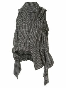 Y's check cinched detail ruffle vest - White