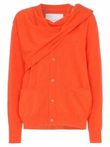 pushBUTTON scarf-wrap cardigan - ORANGE