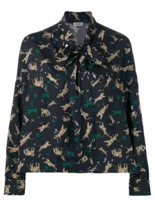 LIU JO tiger jungle print blouse - Black