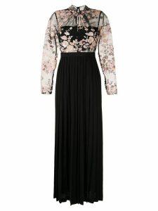 Self-Portrait floral embroidered dress - Black
