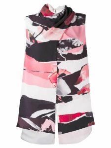 Alexander McQueen abstract print draped neckline top - White