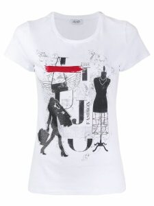 LIU JO Tabloid print T-shirt - White