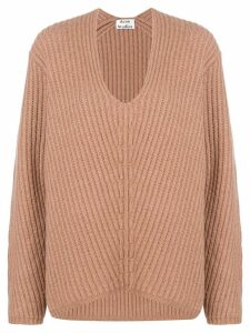 Acne Studios boxy v-neck jumper - Brown