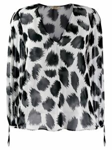 LIU JO two tone printed blouse - Black