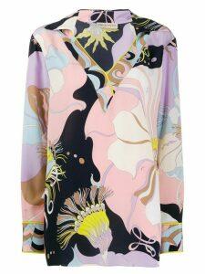 Emilio Pucci lily print silk blouse - Blue