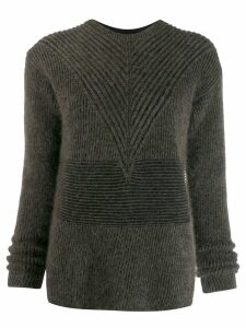 Rick Owens striped long sleeve jumper - Brown