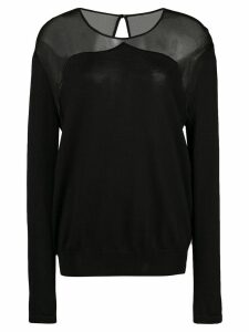 Oscar de la Renta sheer panel knitted top - Black