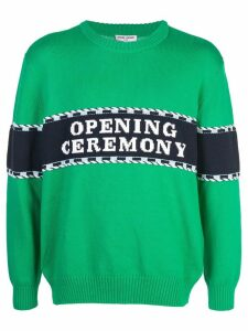 Opening Ceremony logo stripe sweater - Green