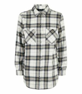 White Check Print Flannel Shirt New Look
