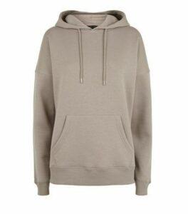 Light Brown Long Sleeve Jersey Hoodie New Look