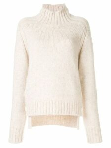 Nº21 side button polo neck jumper - White