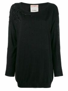 Twin-Set bead embellished jumper - Black