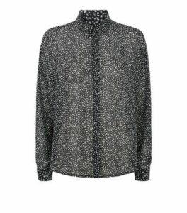 Black Chiffon Ditsy Floral Oversized Shirt New Look