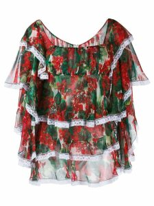 Dolce & Gabbana floral print ruffled blouse - Red