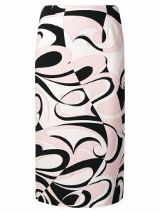Emilio Pucci Fortuna Print Pencil Skirt - White