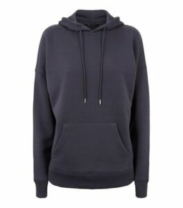 Dark Grey Long Sleeve Jersey Hoodie New Look