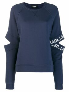 Karl Lagerfeld cut-out logo sleeve sweatshirt - Blue