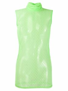 Styland dotted mesh turtleneck vest - Green