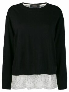 Twin-Set boxy jumper with slip top - Black