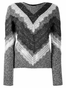 Giambattista Valli lace-trim chevron sweater - Grey