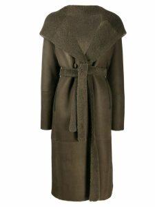 Liska fur-trimmed hooded trench coat - Green