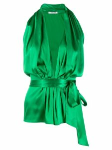 Styland bow tied plunge halterneck top - Green