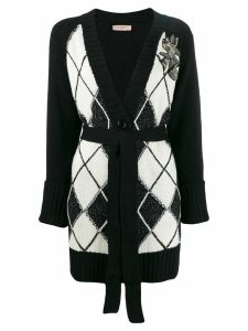 Twin-Set maxi cardigan with diamond inlays - Black