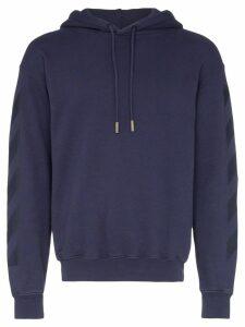 Off-White tonal logo print hoodie - Blue