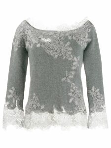 Ermanno Scervino floral lace cashmere sweater - Grey
