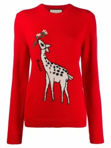 Gucci giraffe intarsia jumper - Red