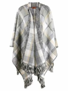 Missoni plaid knit poncho - Grey