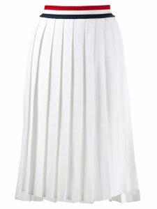 Thom Browne stripe waist pleated skirt - White