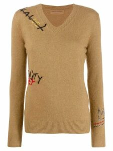 Ermanno Scervino Crocheted letters sweater - NEUTRALS