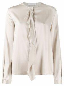 Fabiana Filippi drape-front silk blouse - NEUTRALS