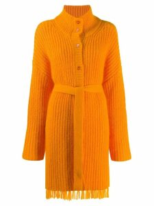 Kenzo belted long-line cardigan - ORANGE