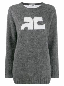 Courrèges logo-detail mohair jumper - Grey