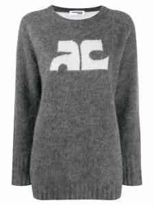 Courrèges logo-detail mohair jumper - Grey