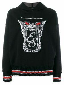 Ermanno Scervino embellished logo print hoodie - Black